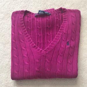 Ralph Lauren Sport Cable Knit V-Neck Sweater